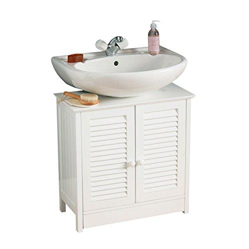 Premier Housewares Mobile sottolavello per bagno con due ante 60 x 60 x 30 colore Bianco