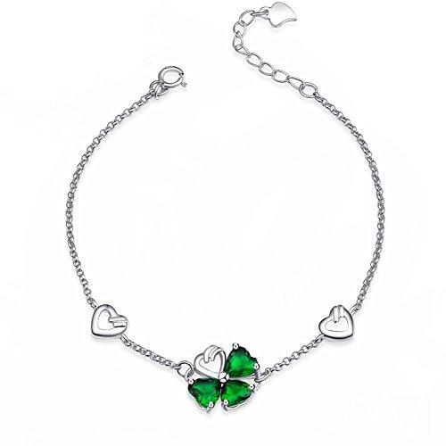 Forfamilyltd Élégant Bijoux - Bracelet Argent 925 Trèfle à Quatre Feuilles Porte-bonheur Femme- Cristal - V