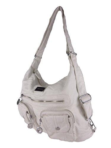 JODY 89297, 2in1 Damen Rucksackhandtasche, Handtasche und Rucksack, 37x28x15cm (grau taupe) weiß