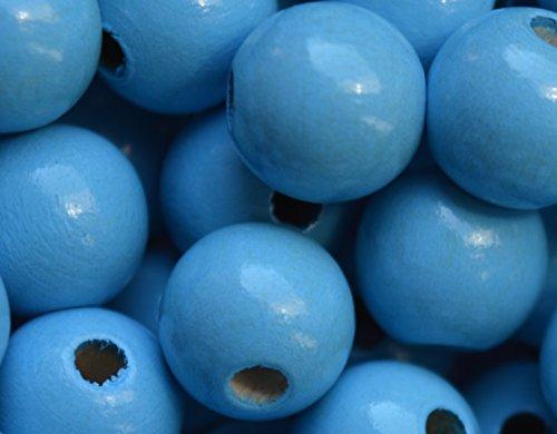 Preisvergleich Produktbild 50 Rundperlen Holzperlen 10 mm zum Fädeln, geeignet für Schnullerketten, Greiflinge u.v.m. (Skyblau)