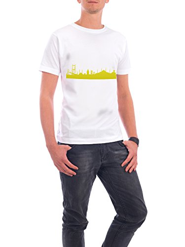 """Design T-Shirt Männer Continental Cotton """"Istanbul 06 Skyline Spring-Green Print monochrome"""" - stylisches Shirt Abstrakt Städte Städte / Istanbul Architektur von 44spaces Weiß"""
