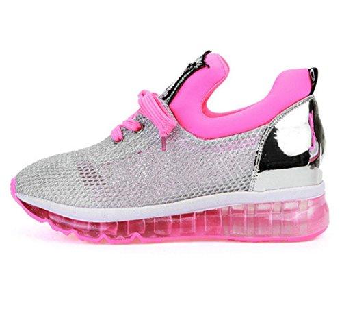 WZG L Sandalen Schuhe Frühling und Sommer atmungsaktive Mesh-Gaze ??Pailletten Schuhe Freizeitschuhe erhöht Turnschuhe Pink