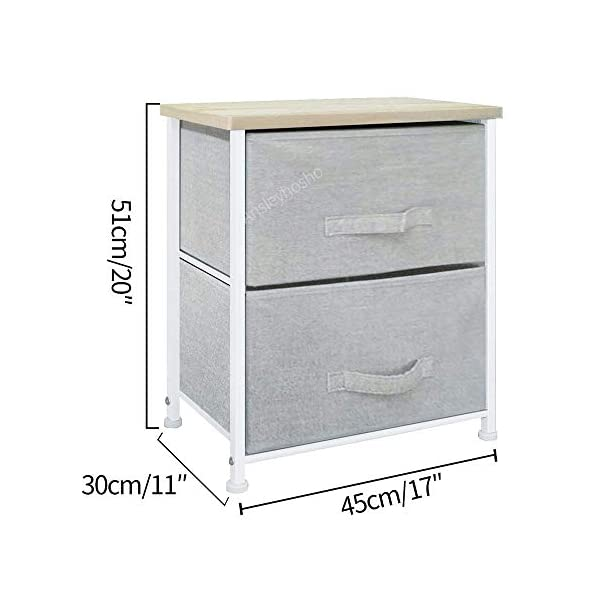 QIHANG-UK Pair of Bedside Table Bedroom Nursery Nightstand Children's Room Bedside Lamp Table Chest of 2 Drawers Grey (001 * 2) QIHANG-UK Utility Storage Unit: this chest of drawers will help on improving the efficiency of space usage, make it easier for you to classify and storage stuff, it is suitable for both personal and family use Sturdy and Durable: solid metal frame and x-shaped bar behind ensure the stability, plastic caps on feet keep floor from scratches; upper 18mm wood board which is solid and simple to clean up; this storage unit is sturdy and durable Easy to assemble: with the aid of the included mounting accessories, the storage system with drawers can be built in 5-10 minutes 4