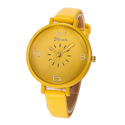 Armbanduhr Frauen,Weant Damen Uhr Diamant Schlicht Geschäft Armband Uhren Frauen Hakenschnalle Rundes Zifferblatt Quarz Analog Kunstleder Armbanduhren Für Frauen (gelb)