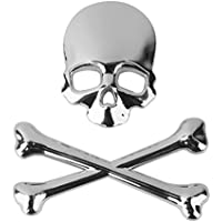 3d Metallo Crossbones Cranio Emblema Motore Camion Decalcomania Distintivo Auto (Emblema Del Metallo)