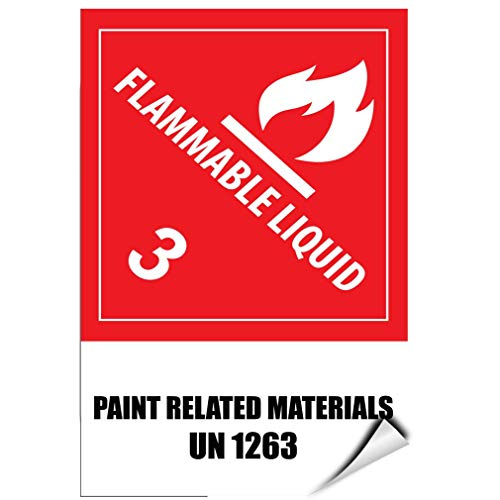 Label Decal Sticker Flammable Liquid 3 Paint Related Materials Un 1263 Durability Self Adhesive Decal Uv Protected & Weatherproof