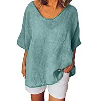 TINGZI Women Tees Casual Summer Shirts Solid O-Neck Short Sleeves Plus Size Top T-Shirt Blouse Loose Comfy Tunic(Green,L)