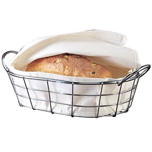 Ovaler Chromdraht Brotkorb Brotkorb Servierkörbe Speisekorb Restaurantqualität Chrom und Leinen Material -