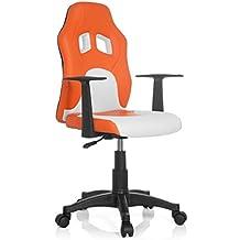 hjh OFFICE Teen Racer Al Silla Infantil, Piel_sintética, (Naranja/Blanco),