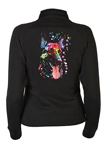 Damen ZIP-Sweater mit Motiv: Deutscher Schäferhund - Shepherd - Hundemotiv - Geschenk - Zip Pullover, Pulli mit Reißverschluss - Farbe: schwarz (Kleidung Deutscher Schäferhund)