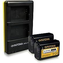 PATONA Dual Caricabatteria NP-FW50 + 2x Batteria per Sony NEX.3 | 5 | 7 | NEX-C3 | A33 | A55 con micro USB