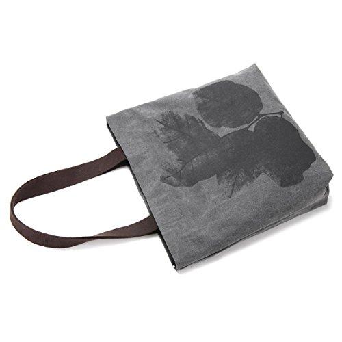 Borsetta Di Tela Di Canapa Da Donna Tote Borsa A Tracolla Per Il Tempo Libero Dipinto A Mano Stampa Lady Bag Gray