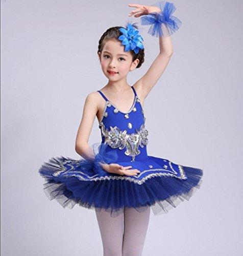 Kostüm Weiße Kleinkind Anzug - Ballkleid Kleid Kleinkind Sling Rock Kostüm Praxis Anzug weiß blau lila rosa, Blue, 130cm