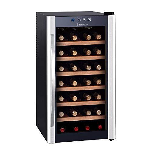 Schwarze Holz-tür (La Sommelière LS28KB Weinkühler, freistehend, Schwarz, Silber, 28 Flaschen, B - Weinkühlschrank (freistehend, Schwarz, Silber, Schwarz, 6 Regale, 1 Türen, Holz))