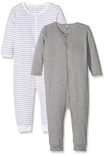 NAME IT Baby Jungen Schlafstrampler Nmnnightsuit 2P Zip Grey Mel Noos, 2er Pack, Mehrfarbig (Grey Melange), 80