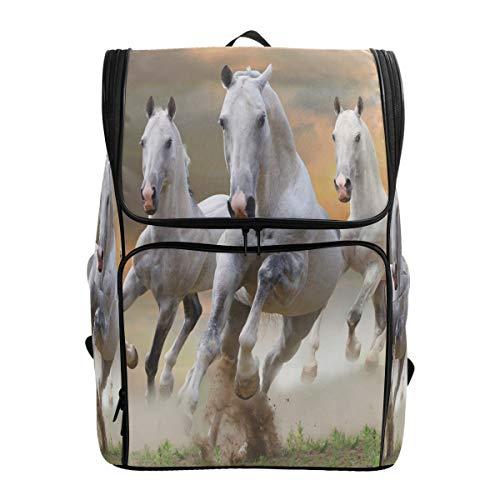 Emoya Rucksack aus Segeltuch mit weißen Pferden für Teenager Mädchen Jungen Buchtasche College Schule Computer Tasche