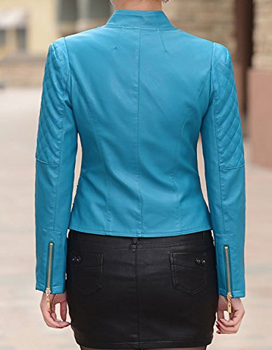 Helan Femmes fermeture glissiere mince moto sport en cuir PU Veste courte Bleu