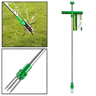 AMOS Weed Puller Weeder Twister Push Twist & Pull Claw Garden Lawn Easy Root Remover Killer Grabber Long Handled Lightweight Tool