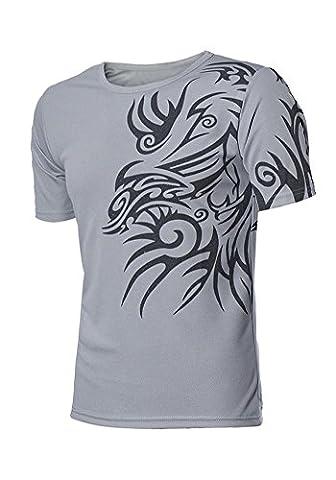 DOOXIUNDI New T Shirts For Men Novelty Dragon Printing Tatoo Male O Neck T Shirts (2XL, light gray)