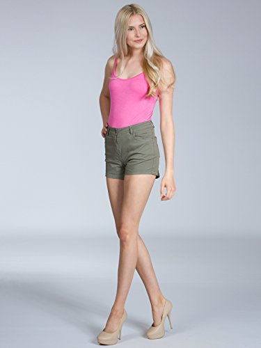 CASPAR HTP005 Damen Sommer Shorts / Hotpants / kurze Hose Oliv Grün