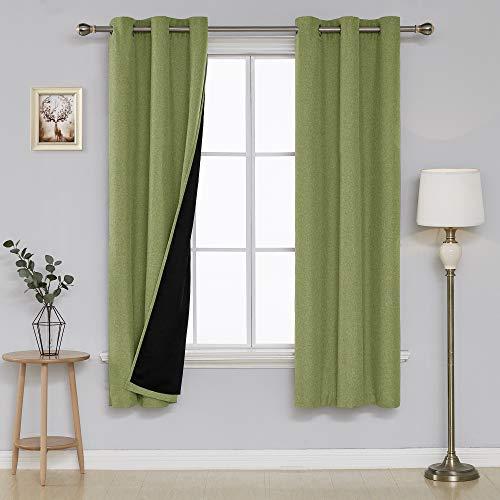 Deconovo Double-Layer-schwarzout Curtain Feste Grommet Fenster Vorhang Panels Grün 38x63 Zoll - Vorhänge Panel-grüne Zwei
