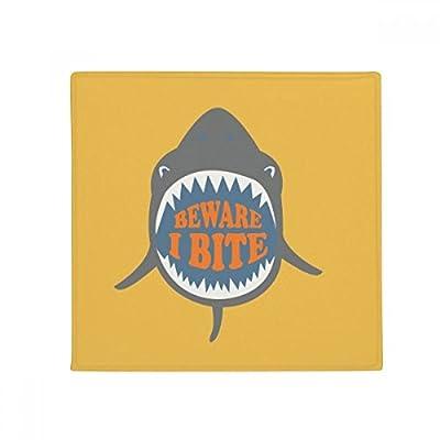 Beware I Bite Shark Illustrate Anti-slip Floor Pet Mat Square Home Kitchen Door 80cm Gift