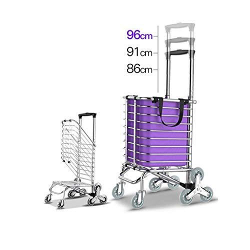 SCJ 8 Räder Treppensteigen Einkaufswagen Trolley Aluminium-Dreirad-Lieferwagen Leicht Faltbar - Lila