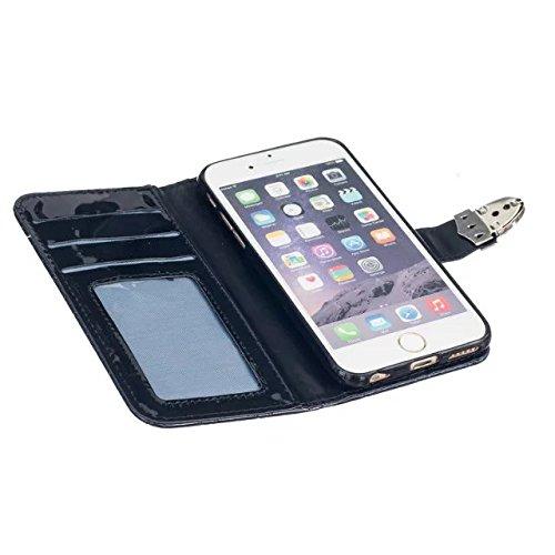 iPhone Case Cover Luxe de couleur unie 3 pliable PU Leather Wallet Case Avec carte Cash Slot et Photo Window Pattern pour IPhone 6s 6 ( Color : Brown , Size : IPhone 6s ) Black