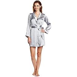 Miss Chase Women's Satin Nightwear Robe (MCSS15NW09-03-17_Grey_Large)