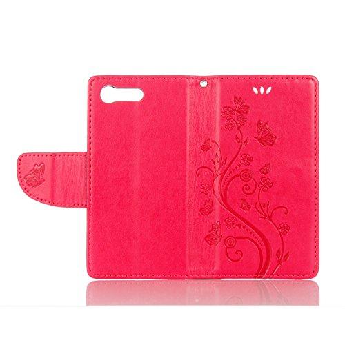 Sony X Compact Cover Protettiva, Alfort 2 in 1 Custodia in Pelle Verniciata Goffrata Farfalle e Fiori Alta qualità Cuoio Flip Stand Case per la Custodia Sony X Compact Ci sono Funzioni di Supporto e P Rosso