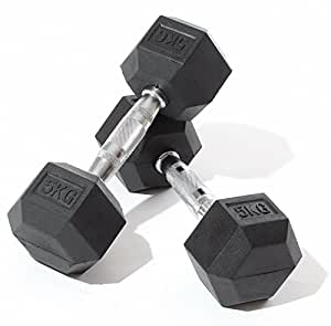Gym Master 5 Kilogram Rubber Hex Dumbbells (Pair) Heavy Duty Commercial Grade Quality for Body Building Fitness Strength Core Resistance
