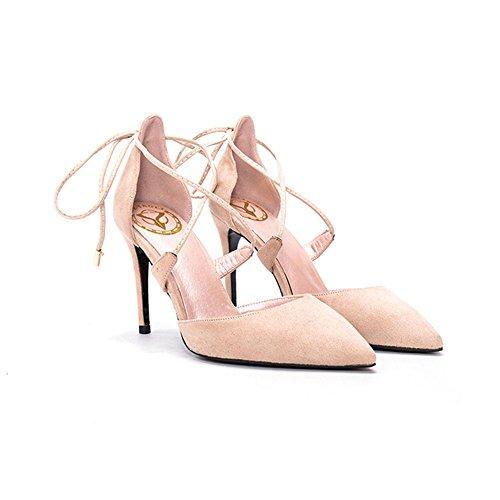 YIXINY Escarpin BD-774 Chaussures Femme Sexy Élégant Conception De Sangles Croisées Amende Talon Pointu Mariage 9 CM Talons Hauts Couleur Nude
