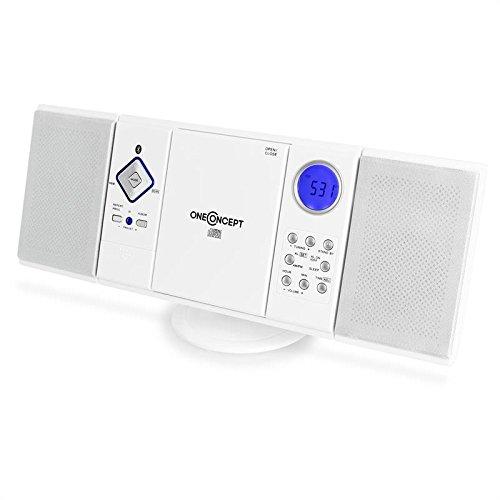 oneConcept V-12-BT • Mini Cadena compacta • Estéreo • Bluetooth • Radio FM/Am • Reproductor de CD y MP3 • USB • Memorias • AUX • Montable en Pared • Mando a Distancia • Blanco