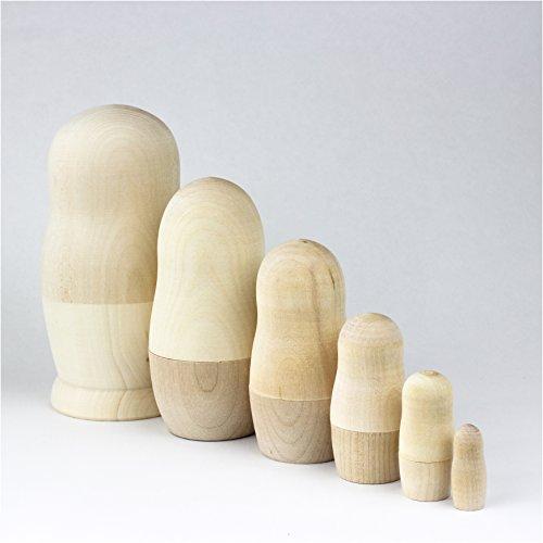 Matrjoschka Russische Nistpuppen blanko Klassische Babuschka Handarbeit aus Russland Holz Geschenk Spielzeug (6 Puppen 13 - Marionetten Kostüm Kinder