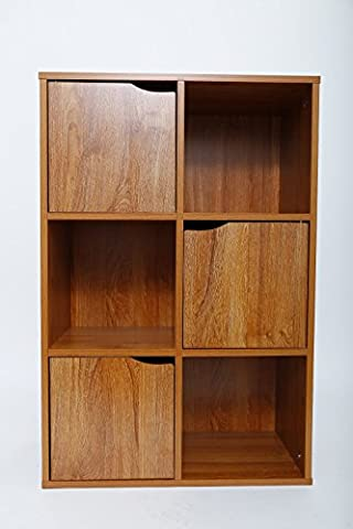 Oak Finish 6 Cube 3 Doors and 3 Open Cubes Shelf / Shelves Books CDs & DVDs Office Home Storage