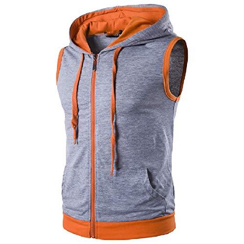 CuteRose Mens Zip Color Block Summer Vests Athletic Hooded Sweatshirt Light Grey M Cold Weather Running Jacket