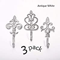 Ambipolar Antique Decorative Large and Heavy Duty Coat Hooks. Wall Hooks Pack of 3. Antique White
