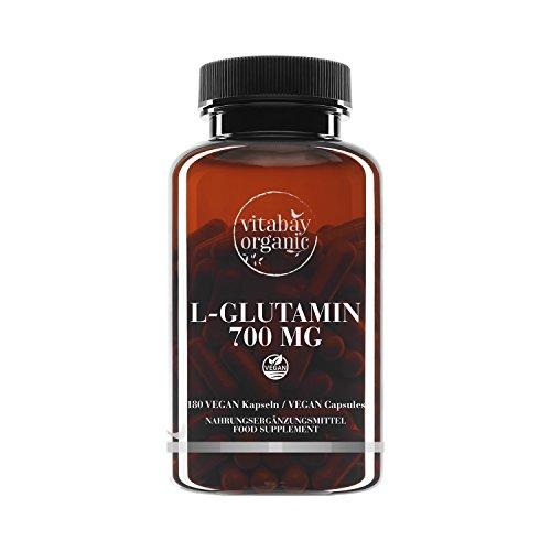 L-Glutamin 700 mg - 180 vegane Kapseln - freie Form, bioverfügbar, Reinsubstanz frei von Hilfs und Zusatzstoffen, vegan