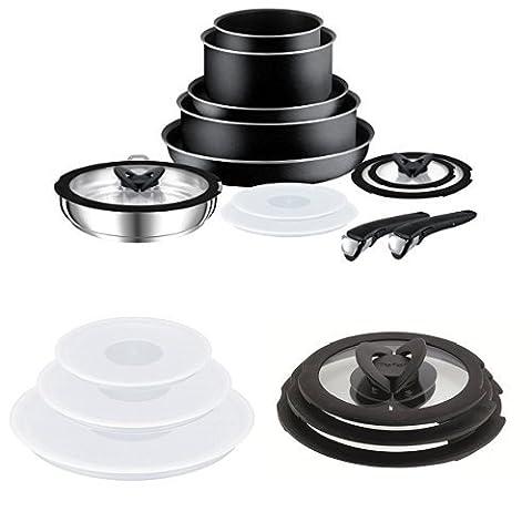 Tefal Ingenio Essential Non-Stick Saucepan Set, 13 Pieces + Ingenio Glass Lids + Ingenio Plastic Lids - Set of