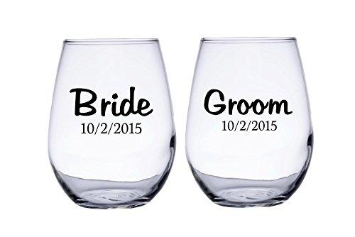 Braut und Bräutigam Personalisierte Hochzeit Datum ohne Stiel Wein Gläser