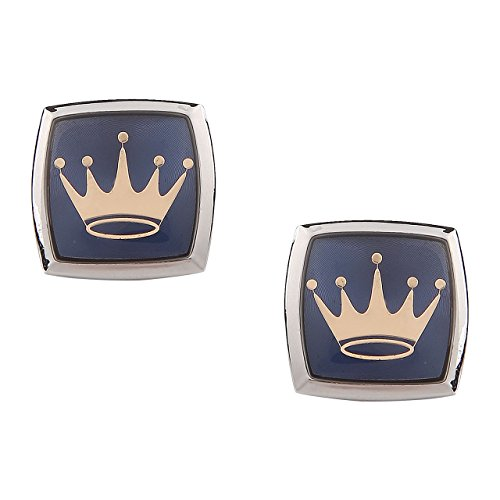 Tripin Silver Brass Cufflinks Set For Men With Royal Logo In A...