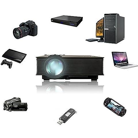 UC40+ HD Mini Proyector Portátil Proyector de Cine en Casa, WEINAS® Proyector de Negocio AV A / V USB y SD HDMI Multimedia para Hogar Oficina Clase Cine (Negro)