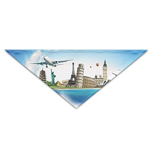 Singapur Für Jungen Kostüm - Pet Triangle Banna Sea Airplane Famous Buildings Washable Dog Puppy Scarf Bib Babys Neckerchief Accessories