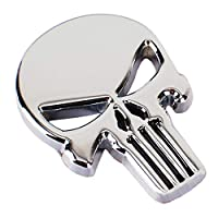 BSGP 1PC 3D Metal Decal Skull Punisher Vehicle Car Motorcycle Sticker,Silver