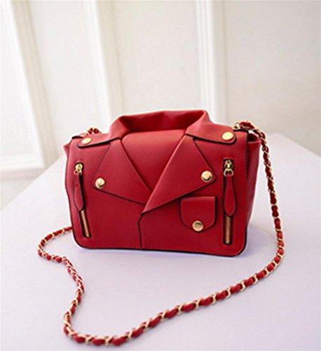 YANX Lady Art und Weise PU kreative Persönlichkeit Kleidung Kette Schulterdiagonalpaket Red