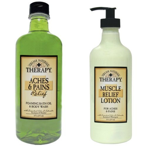 Village Naturals Muscle Aches & Pains Relief Lotion & Foaming Bath Oil Body Wash Relaxing Set by Village Naturals Therapy - Pain Relief Lotion