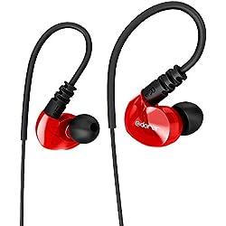 Écouteur Sport Adorer RX6 Écouteurs Filaires Intra-auriculaires avec Microphone, Ecouteurs à réduction de bruit Étanches IPX4 pour iPhone Samsung Huawei Sony Xiaomi - Rouge