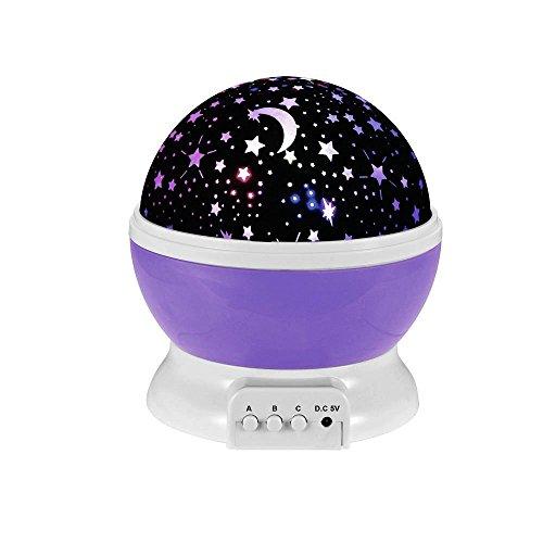 Ecandy 360 grados de rotación 3 Modo de luz del proyector de la estrella romántica Cosmos Luna del cielo de la lámpara de proyección de luz nocturna dormitorio para niños, bebés, regalos de la Navidad, los amantes del USB / Powered.d batería (Violeta)