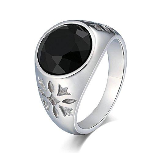 Amody Edelstahlsignnet Ringe Punk Bands Black Cubic Zirkonia Flower Round 15MM Ring for Mens Größe 67 (21.3) (Ring Flower Cubic Black)