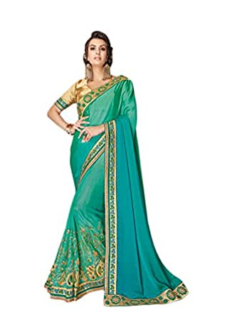 Ankit Fashions Jari Thread Embroidery Satin Silk Sari in Green